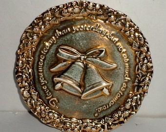 Vintage Anniversary Plate - Love Wedding Bells Plate - Anniversary Gift Plate - Gold Tone Anniversary Plate - Garden Club Plate