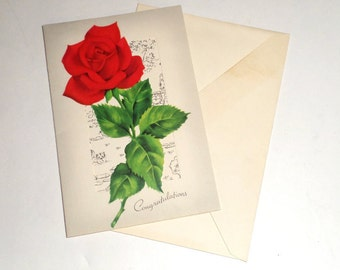 Vintage Greeting Card - Red Rose Congratulations Card - Pert N Pretty Card - Card With Envelope - Vintage Card - Old Collectible Card