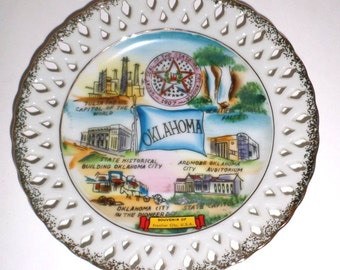 Vintage Oklahoma State Plate - Collectors Plate - Oklahoma Plate - Made In Japan - Wall Plate - State Souvenir Plate - Cutout Edges