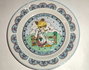 Vintage Precious Moments Plate - Precious Moments Collector Plate - Make A Joyful Noise 1992 - Wall Plate - Little Girl and Goose Plate