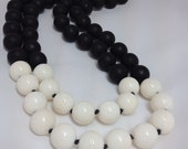 Matte Onyx White Coral and Sterling Silver Double Strand Necklace