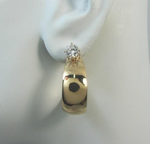 Earring Jackets for Studs 14K Gold Filled Gem Stone Enhancer Smooth Tapered Large Wide Hoop  Dangle JHL3GFSM