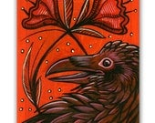 Red Flowers, Raven, Crow Original Painting on a Playing Card