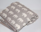 ORGANIC quilted baby blanket- gray elephants - ready to ship