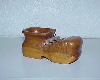 Vintage--Hand Carved--Wooden Shoe--Folk Art--Wood Shoe