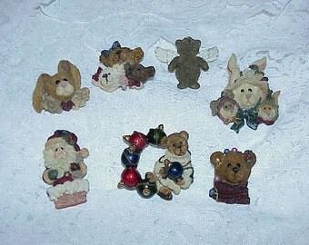 7--Vintage 1980's--Boyd's Bears--Bearwear Pins And Folkwear Pins--Bears--Rabbits--Santa