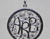 Sterling Silver and diamond inital pend reserved for Annie