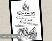 Alice in Wonderland Baby Shower Invitation Birthday Party Invitation - Vintage Alice, Classic Alice, Tea Party (Printable Digital File)