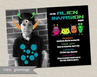 Alien Birthday Party Invitation - Space Party Invites (Printable Digital File)