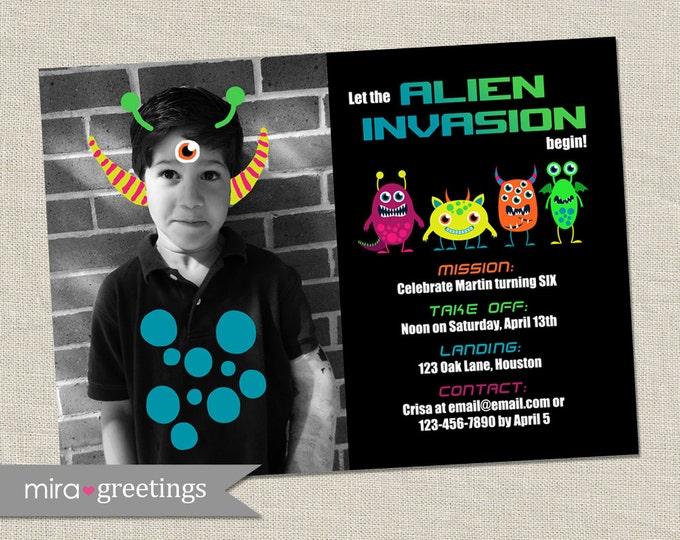Alien Birthday Party Invitation - Printable Digital File