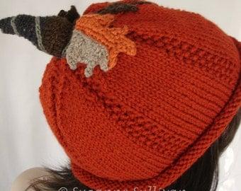 Adult Pumpkin Beanie, Orange Pumpkin Hat, Hand Knitted Pumpkin Beanie, Halloween, Thanksgiving Pumpkin Hat, Womans Pumpkin Beanie