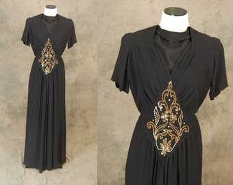 vintage 30s Evening Gown - Black Beaded 30s Dress 1930s Maxi Dress Sz S