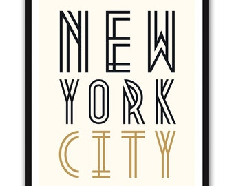 New York City - 8x10 inch on A4 Print (in Faux Gold + Black) 20's style NYC GLAMOR poster
