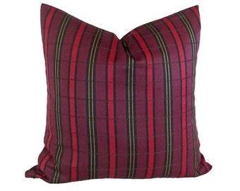 Striped Bohemian Pillow Covers, Dark Red Purple Pillows, Red Purple Striped Pillow, Red Wool Cushion, Boho Pillows, 12x18, 18, 20, 22, 24 26