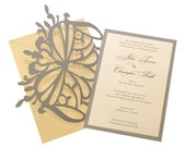Elegant Butterfly Wedding Invitations, golden yellow, gold, charcoal gray, shimmer, folded, dragonfly, champagne, upscale, whimsical