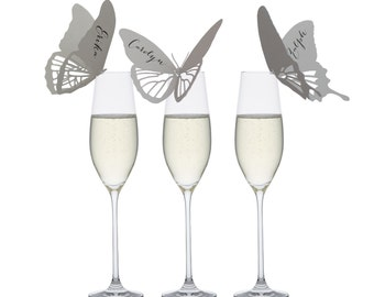 Butterfly Place Cards - natural, pretty, romantic, charming, wedding, escort card, champagne glass, reception table, save the date
