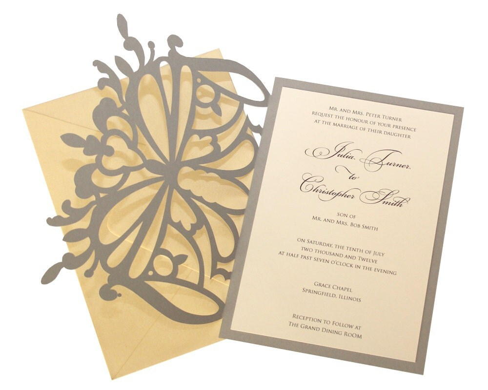 Wedding Butterfly Invitations: Elegant Butterfly Wedding Invitations Golden By TimelessPaper