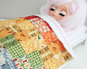 Blythe Quilt and Pillow set Miniature Doll Pillow Set Shabby Cottage Chic Pillow Deco Hand Quilt 1:6 Miniature