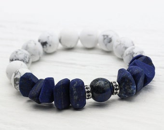 Lapis Lazuli 14K White Gold Sapphire Bracelet / Natural Beadwork White Grey Howlite / Gold Navy Cobalt Blue Nautical Sea Ocean Inspired