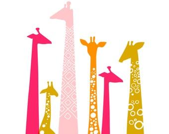 "11X14"" modern giraffe silhouettes giclée print on fine art paper. pink, magenta, orange."