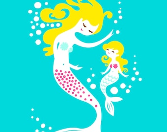 "8X10"" mermaid mother & daughter giclee art print on fine art paper. teal blue, magenta pink, blonde."