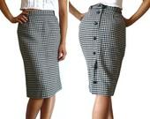 French Vintage Black White Herringbones Pencil Skirt