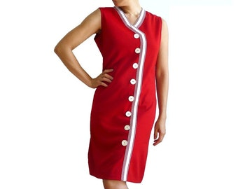 DRALONG French VIntage 60s Red Dress