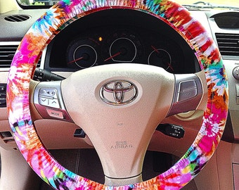 tie dye steering wheel cover car accessory. Black Bedroom Furniture Sets. Home Design Ideas