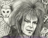 "Portrait Drawing Art Print: ""It's Only Forever"" - David Bowie Jareth Jim Henson's Labyrinth Goblin King Owl"