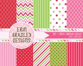 Christmas Holiday Digital Paper Pack Pink Green & Red Commercial Use INSTANT DOWNLOAD