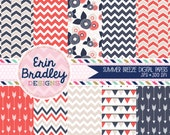 Summer Breeze Digital Paper Pack Arrows Chevron Bunting and Flower Patterns Commerical Use OK INSTANT DOWNLOAD