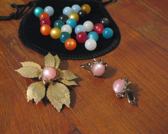 Vintage 1960s Unique Catseye Clip-on  Earrings and Brooch Set - Gift for Her