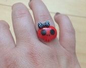 Girly skeleton ring adjustable rockabilly halloween
