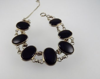 Art Deco Bracelet, Black Onyx Jewelry, Oval Cabochon, Silver Tone Metal Bracelet, Costume Jewelry