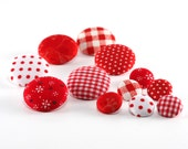 Fabric Buttons - Red and White Mix - 6 Medium Or 6 Small Sized Gingham, Polka Dots, Floral, Berries Red and White Fabric Covered Buttons