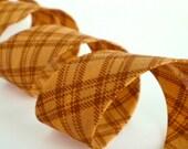 Bias Tape Binding - Mustard With Checks - 3 Yards Handmade Yellow Country Cotton Fabric