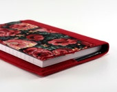 Fabric Journal - Glowing Red Roses - Handmade Fabric Cover A6 Notebook, Diary - Burgundy Red