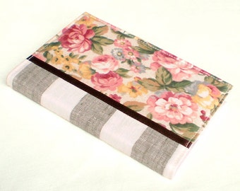 Fabric Journal Cover - England England - A6 Notebook, Diary - Pink, Yellow and Beige Roses and Flowers with Green Leaves