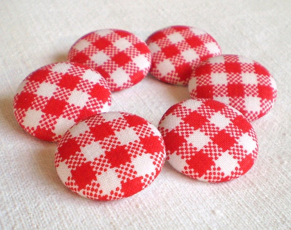 Fabric Button - Giant Gingham Red and White - 6 Medium Fabric Covered Buttons - Red Plaid, Clothing Buttons, Knitting Buttons