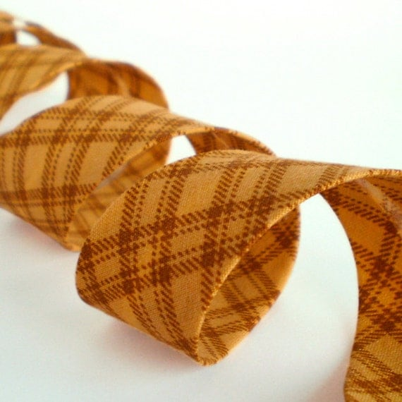 "Bias Tape Binding, Mustard With Checks, 4 Yards Handmade Bias Binding, Yellow Country Cotton Fabric, 1"" Single Fold Bias Tape, Quilting Bias"
