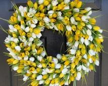 Spring Wreath- Tulip Spring Wreath- Summer Wreath- Spring Sunshine- Spring Yellow Tulips Decoration- Easter Wreath Spring Outdoor
