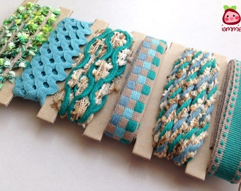Trim, fabric, ribbon, green, blue, teal, lace, scrapbooking, decoration, craft, wedding, party, card decoration, glitter, plaid, girl, kid