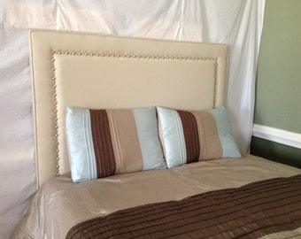 Queen Rectangular Headboard with Nickel Nailheads