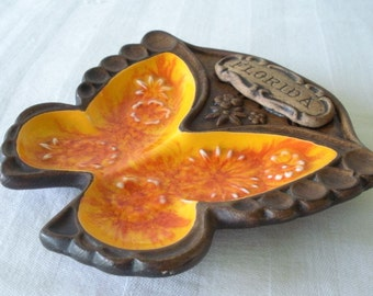 Vintage TREASURE CRAFT FLORIDA Ceramic ButterflyTrinket Dish Ashtray Mid Century Souvenir