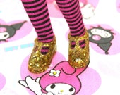 Blythe Chunky Gold Glitter T- Strap Mary Jane shoes