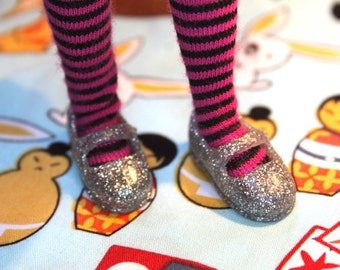 Licca Blythe Silver Glittery Flat Mary Jane Doll shoes