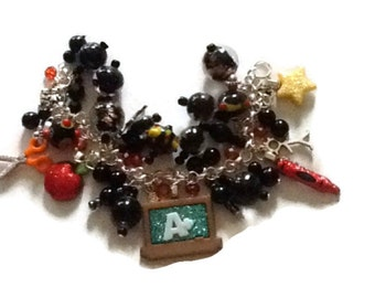 Teacher altered Art Charm Bracelet sALE