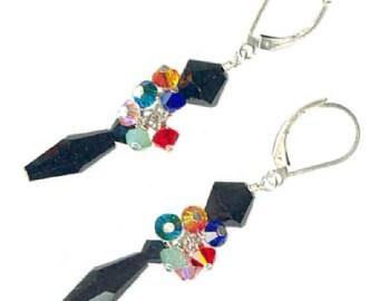 sophisticated black multicolor crystal cluster drop earrings