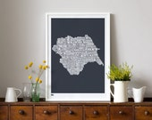 Yorkshire Type Map - decorative screen print