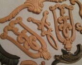 Vintage wood Molding's / Scroll Wood Appliques / Furniture Molding Applique (5618)